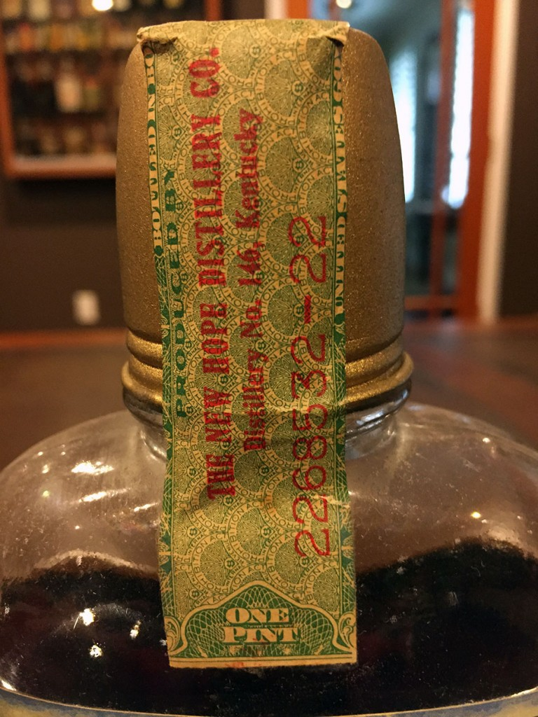 Golden Premium Whiskey tax stamp