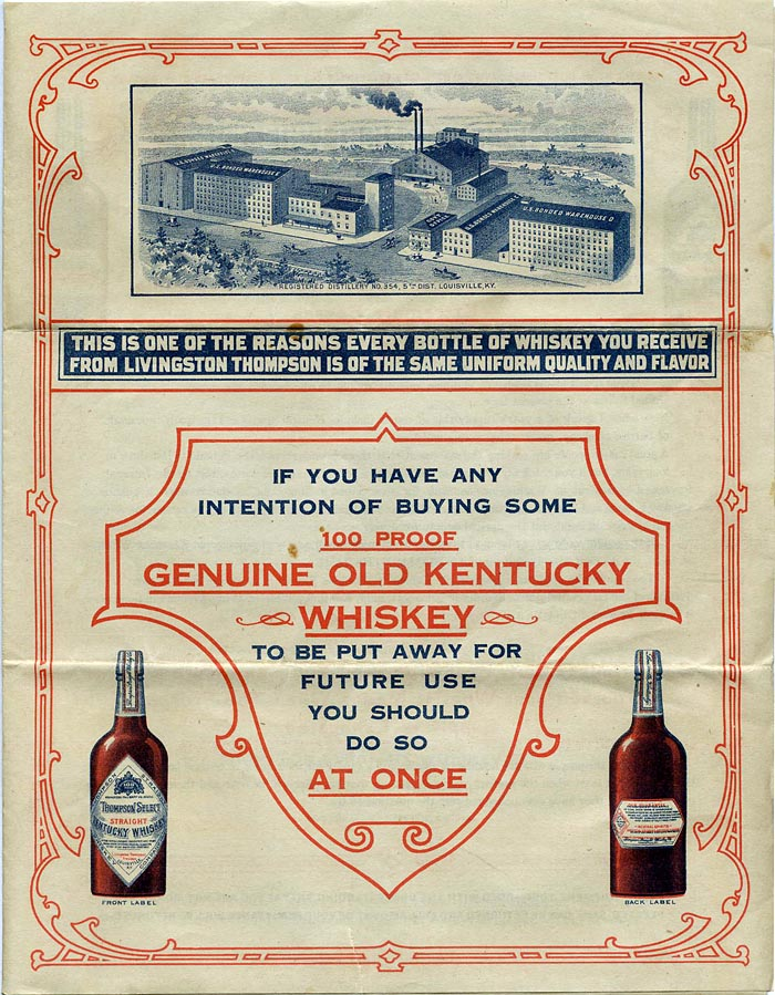 Thompson Select Straight Kentucky Whiskey.
