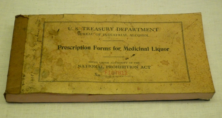 Official prescription tablet for medicinal alcohol, 1933