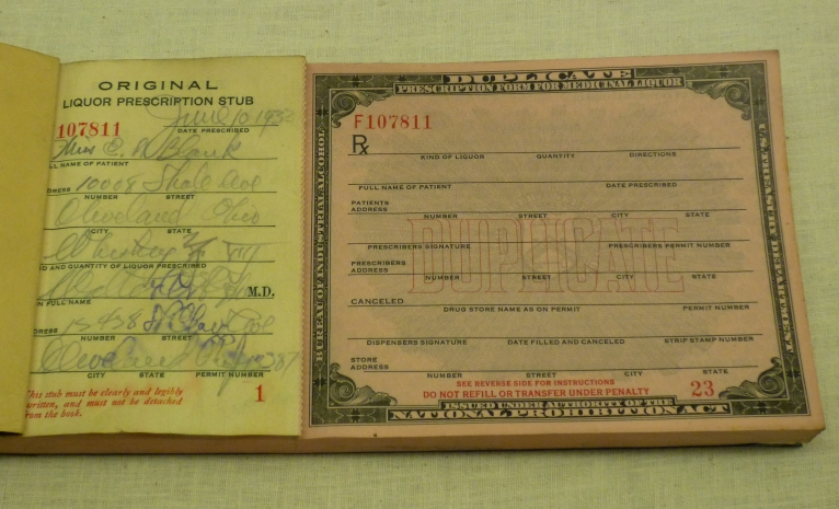 Prescription forms for medicinal alcohol, 1933